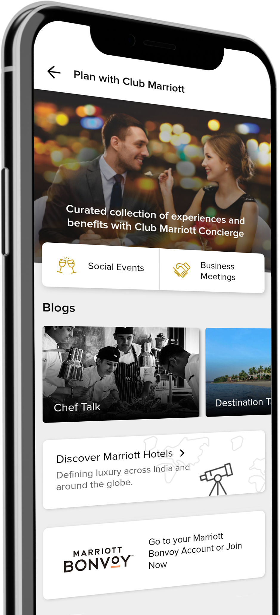 Download the Club Marriott South Asia Mobile App and Manage your Membership easily