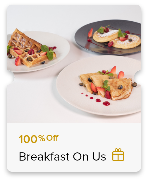 100% Off Buffet Breakfast