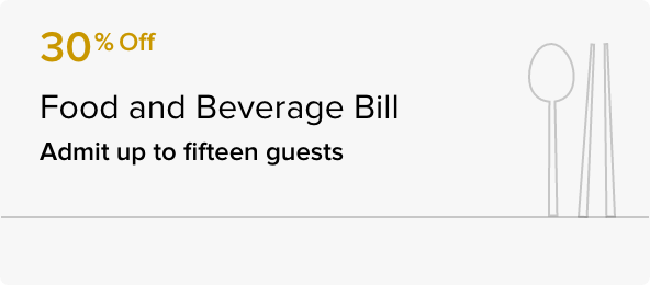30% off on the food and beverage bill